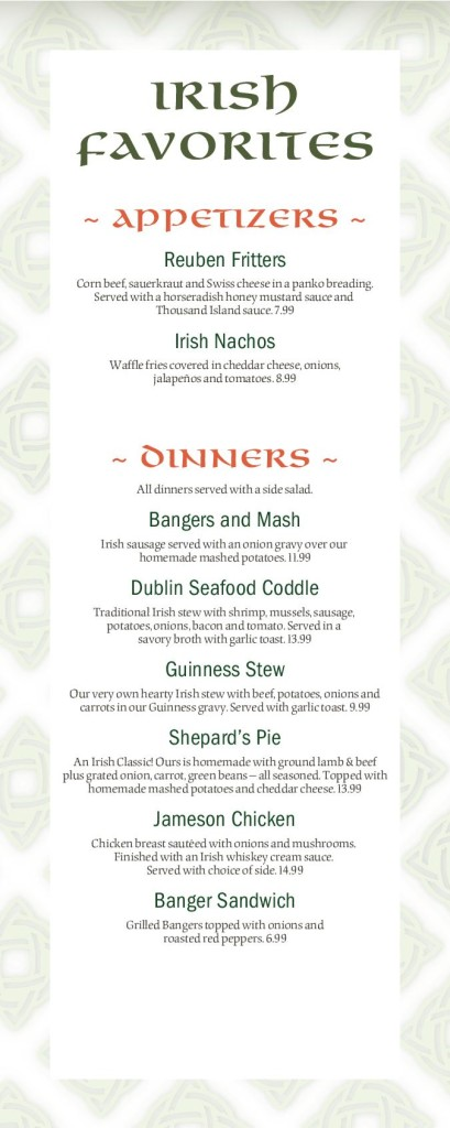 Patricks Irish Menu 2017